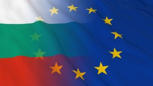 Bulgarian and European Union Relations Concept - Merged Flags of Bulgaria and the EU 3D Illustration